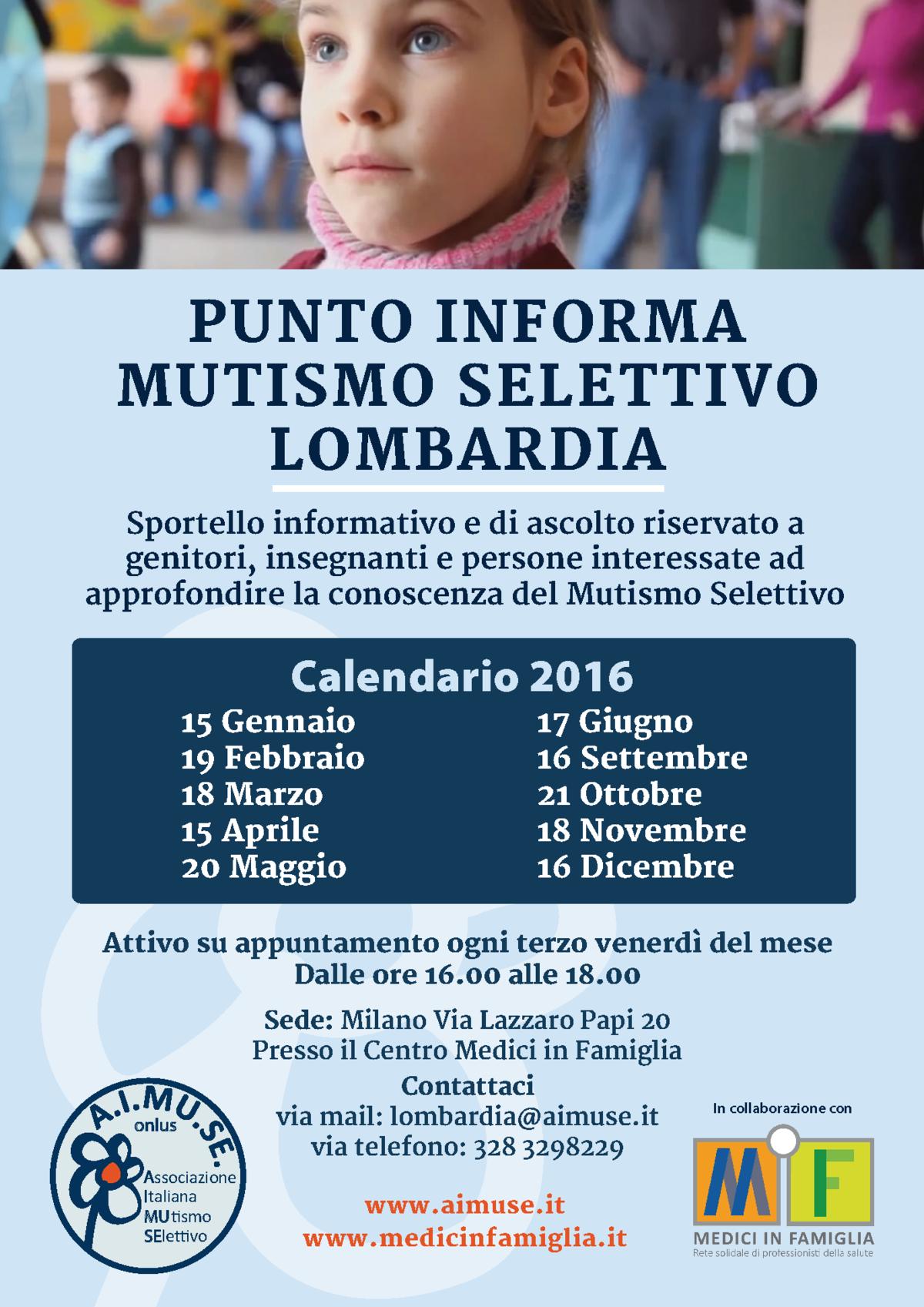 Calendario 2016 del Punto Informa Lombardia