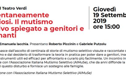 """Pordenonelegge 2019 – la Dott.ssa Emanuela Iacchia presenta il manuale """"Momentaneamente silenziosi"""""""