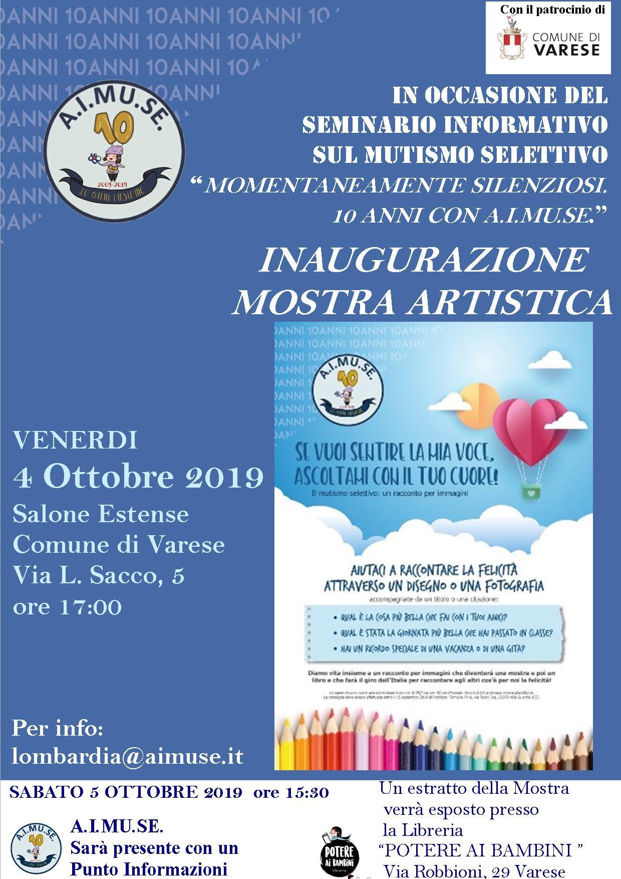 Varese – Inaugurazione Mostra Artistica – 4 ottobre 2019
